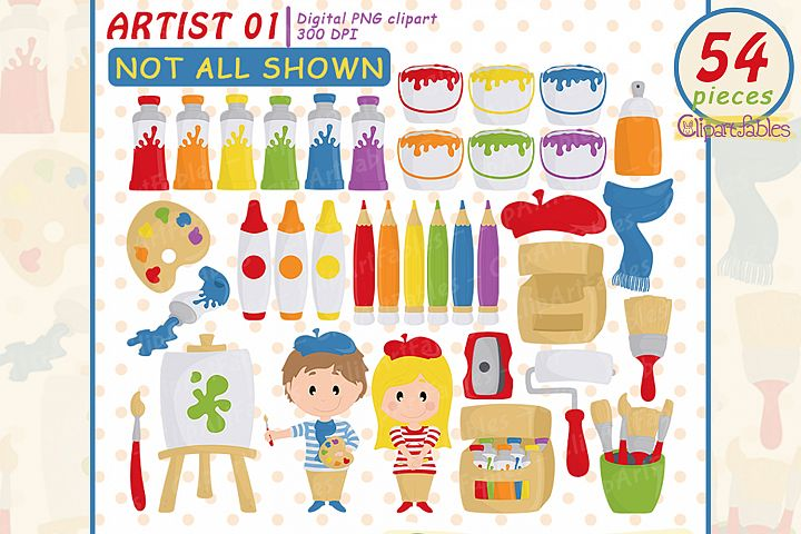 Artist clipart, Cute painting clip art, Colorful art