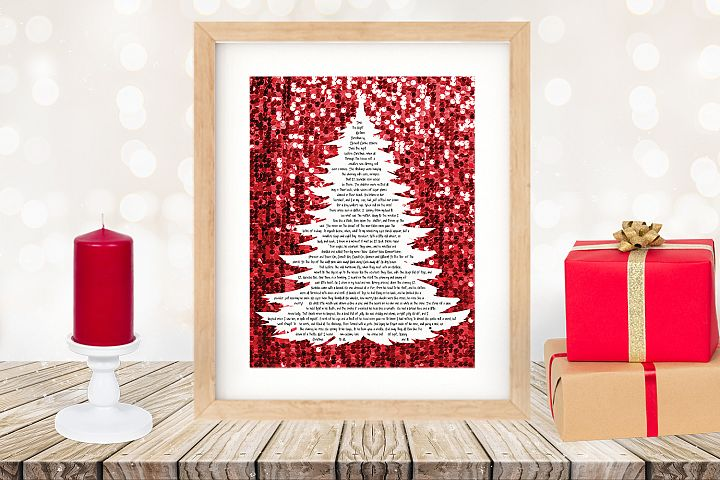 Twas the Night Before Christmas Printable Tree Red