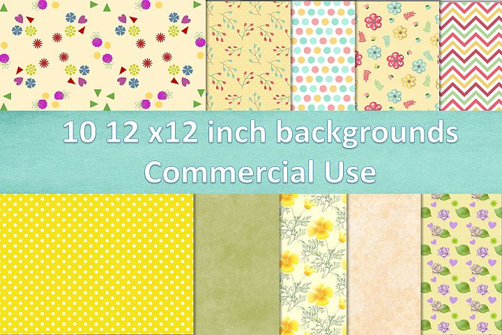10 12x12 inch backgrounds Summer Commercial Use