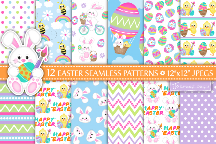 easter bunny digital paper, Easter seamless patterns -P38