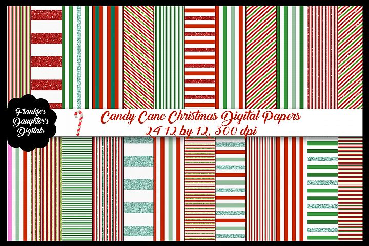 Candy Cane Christmas Red Green & Glitter Paper Bundle