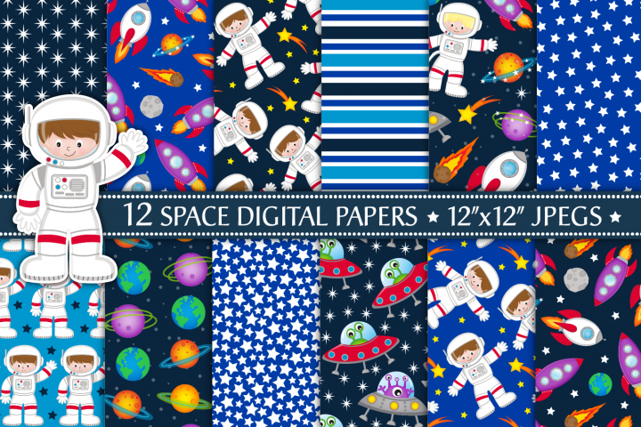 Space Digital Papers, Space Patterns, Astronauts, Planets