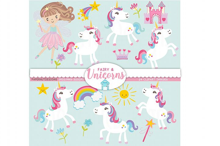 Unicorns and Fairy Clipart