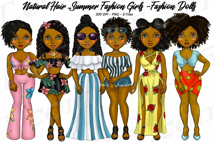 Summer Fashion Girls Planner Clipart, Natural Hair PNG