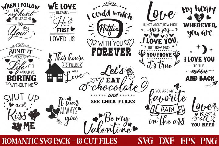 Romantic SVG Pack - 18 Valentines Cut Files