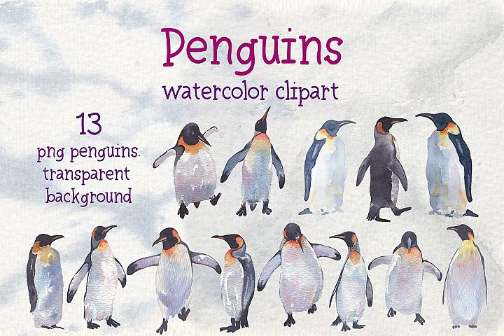 Penguins watercolor clipart example image 5