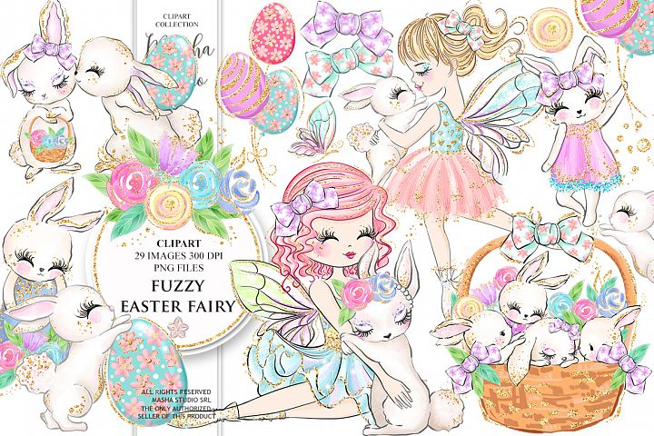 FUZZY EASTER FAIRY clipart