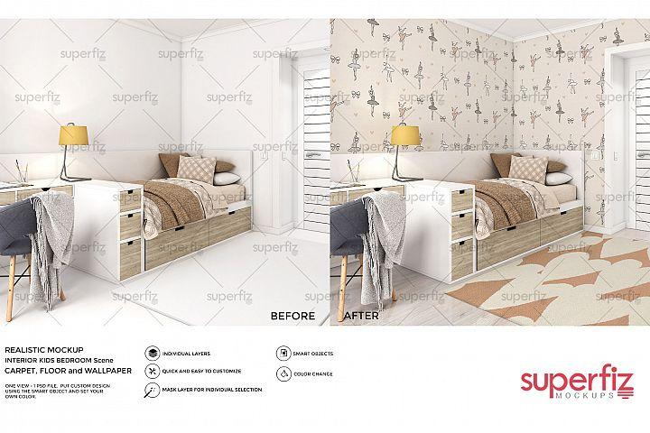Wallpaper, floor and carpet Mockup Kids Bedroom SM62
