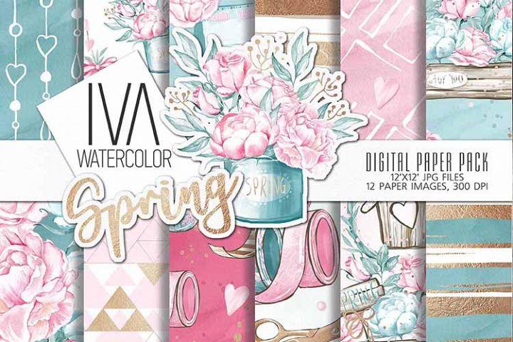 Spring Digital Paper Pack,Floral Digital Art