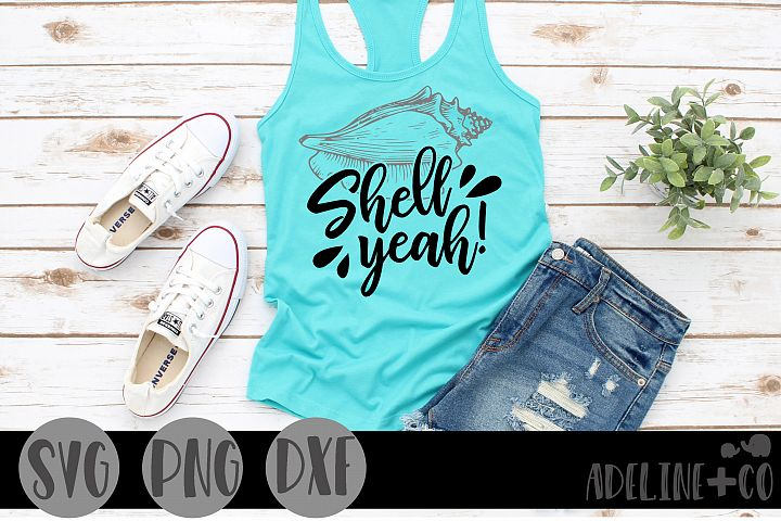 Shell yeah! SVG PNG DXF, beach, seashell