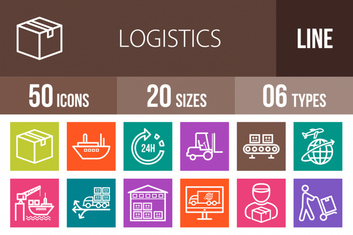 50 Logistics Line Multicolor B/G Icons