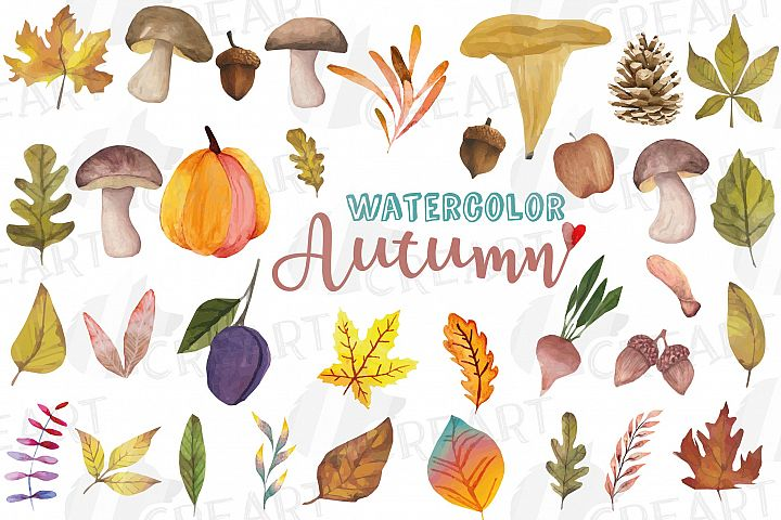 Printable autumn watercolor decor elements, leafs, mushrooms