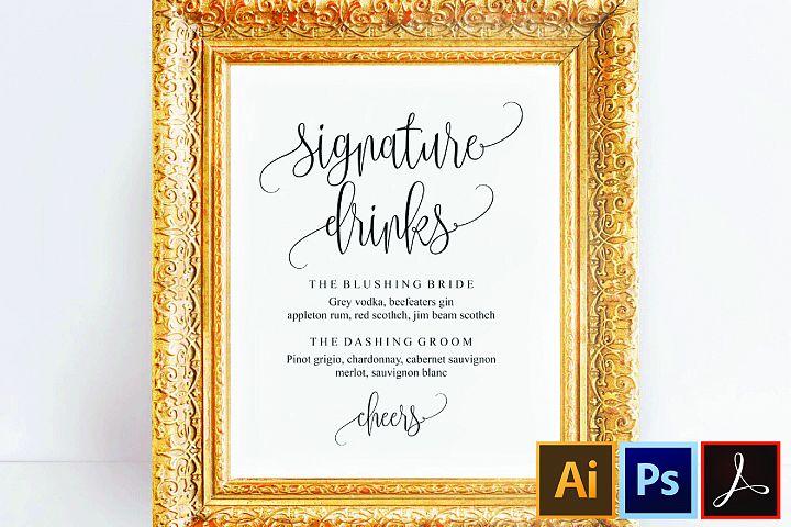 Signature Drink Sign, Signature Drinks Printable, Wedding