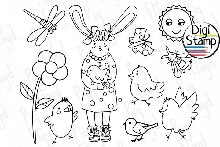 Bunny black outline, Coloring page, Easter Coloring