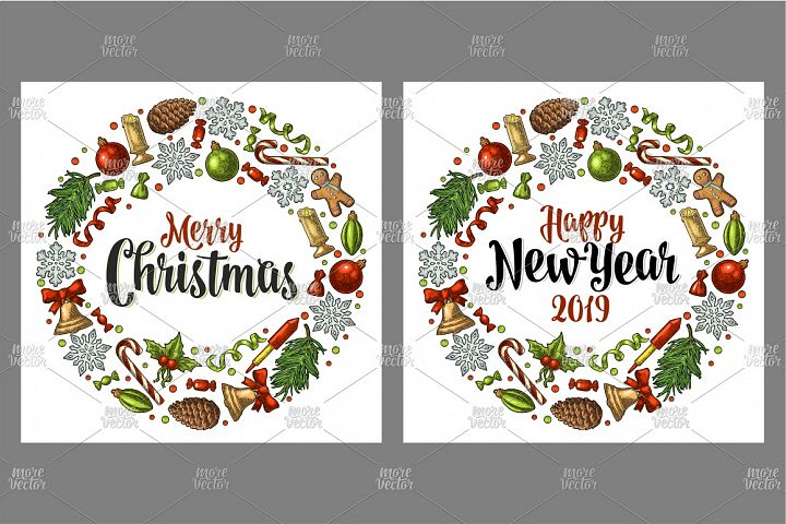 Circle shape set Merry Christmas 2019 NewYear. Engraving