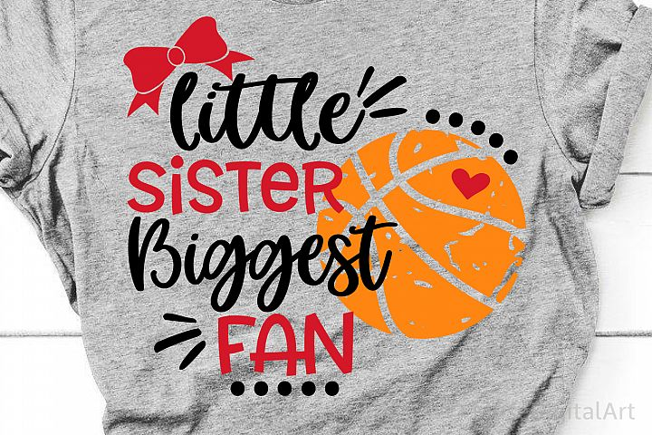 Basketball Sister Svg, Little Sister Biggest Fan Basketball