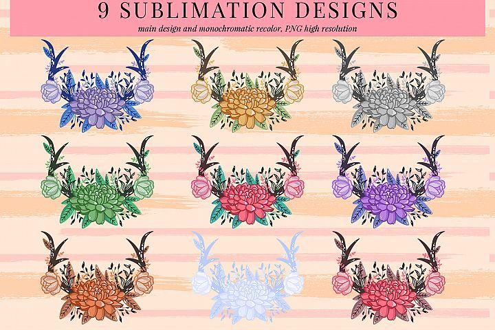 bundle floral antler 1 sublimation design, PNG sublimation