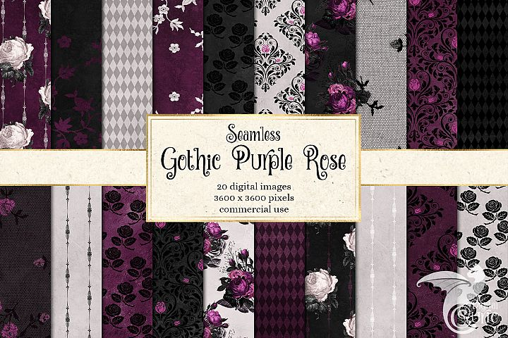 Gothic Purple Rose Digital Paper
