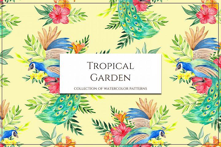 Tropical garden. Seamless pattern