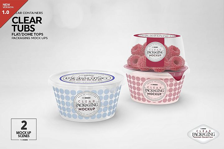 Clear Tubs Flat or Dome Lid Packaging Mockup