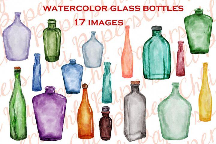 Watercolor Bottles, BOTTLES CLIPART, Kitchen clipart