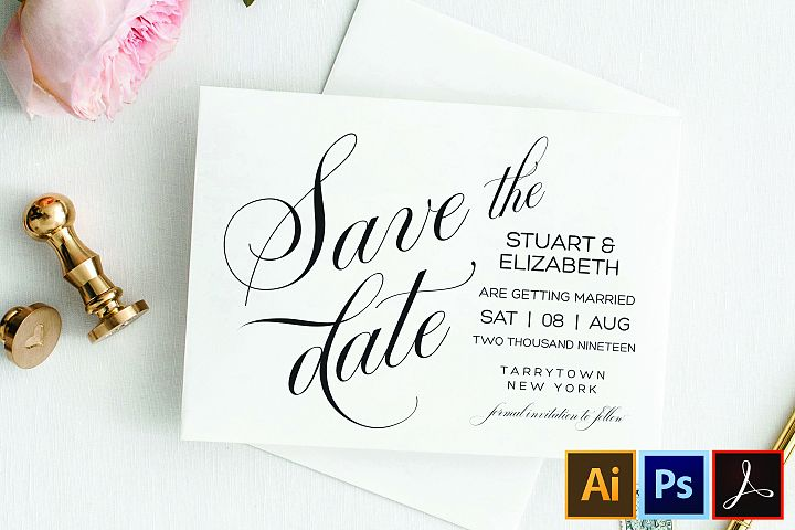 Save the Date Template, Printable Wedding Date Postcard