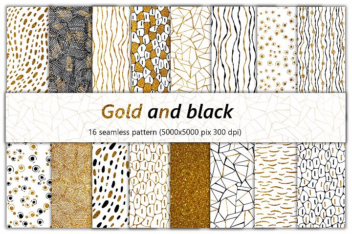 Simple seamless patterns. Big set. Digital paper gold, black