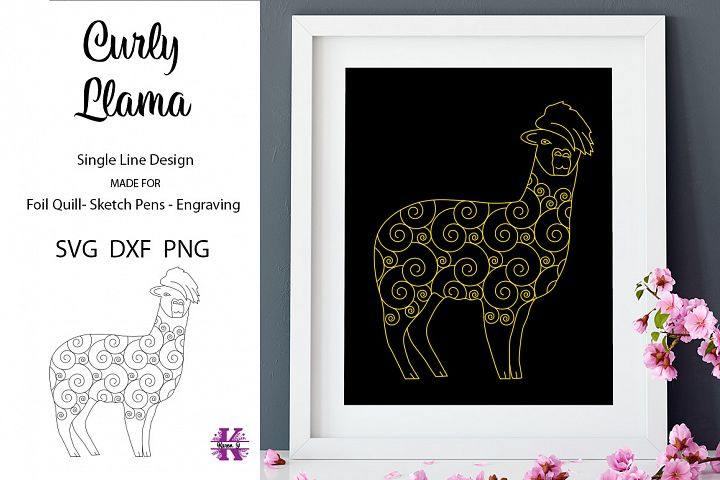 Curly Llama for Foil Quill|Single Line Design