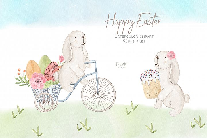 Happy Easter. Watercolor clipart.