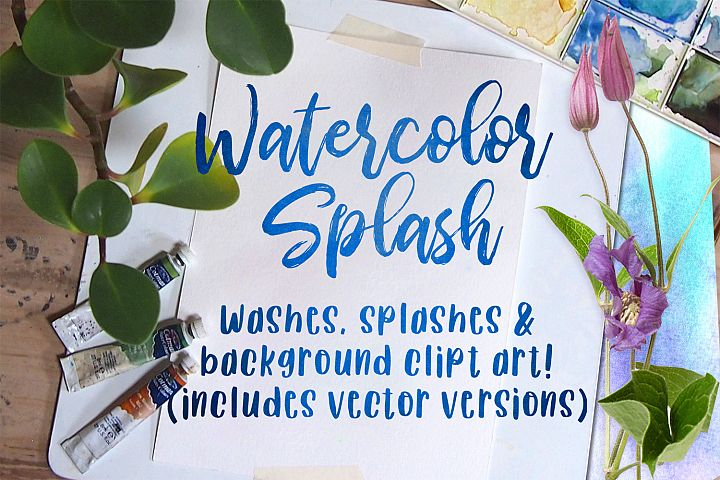 Watercolor Splash Clip Art, Vector Watercolor Backgrounds!