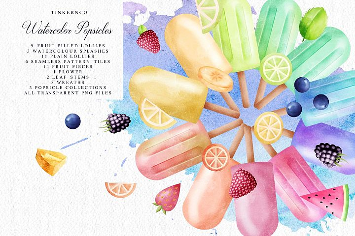 Summer Watercolor Popsicle Graphics Set and Patterns