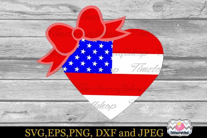 SVG, Dxf, Eps & Png 4th of July Patriotic USA Heart Flag