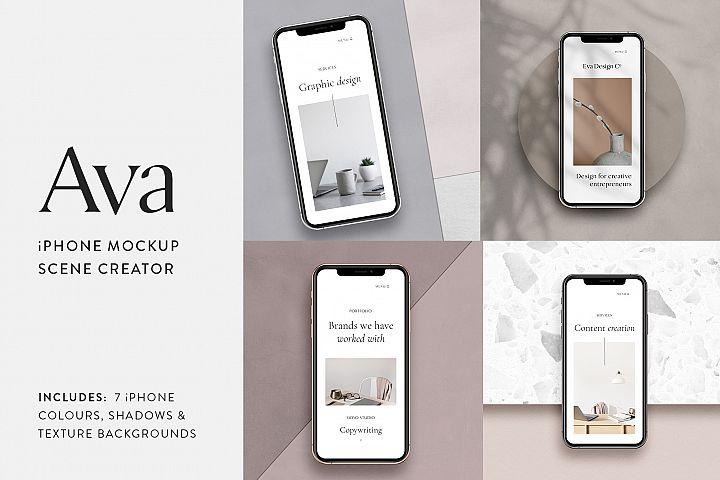Ava - iPhone X Mockup Scene Creator