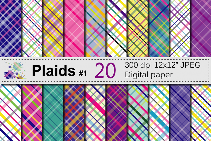 Colorful Bright Plaid Digital Paper Pack / Plaid backgrounds / Multicolored plaid scrapbook papers