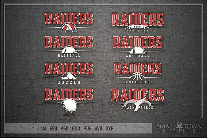 Raider Sport Bundle, Logo, Team Mascot, PRINT, CUT & DESIGN
