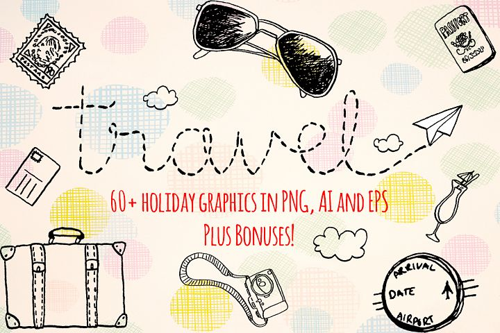 60 Hand Drawn Travel, Trip and Holiday Vector Graphics