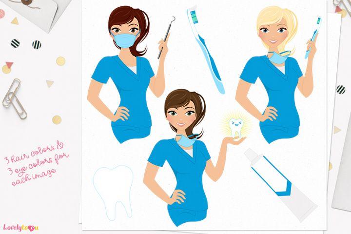 Dentist woman character clip art L399 Piper