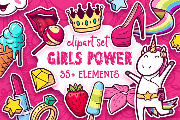 Girls Power. Clipart and pattern set