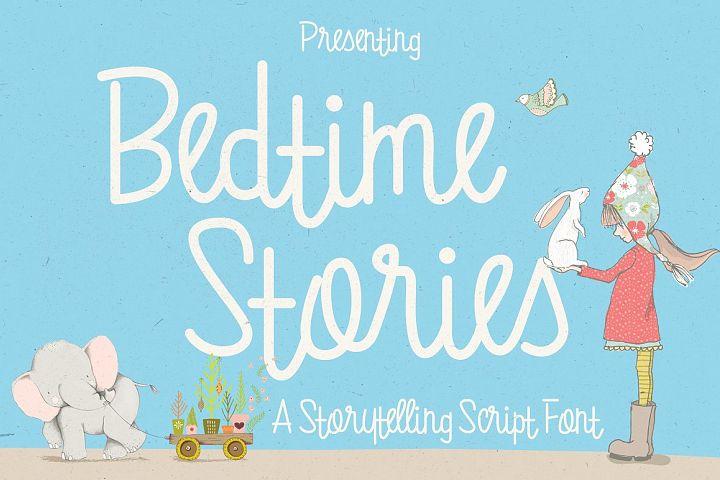 Bedtime Stories Font / Fun Font / Script Font / Line Font