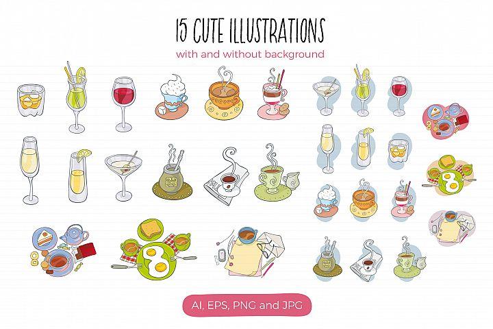 Drinks, vector illustrations - Free Design of The Week Design2