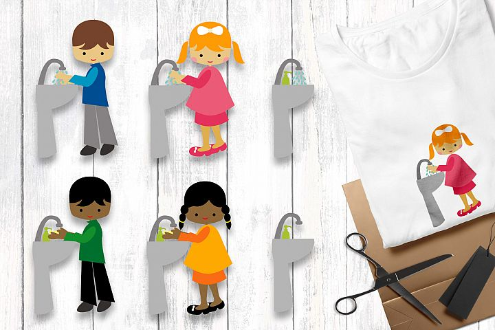 Wash your hands - kids clip art illustrations