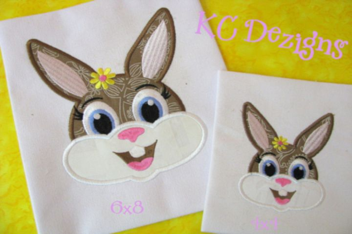 Girl Rabbit Face Machine Applique Embroidery Design