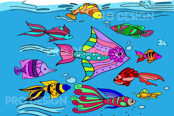 Fishes in Water Clip Art