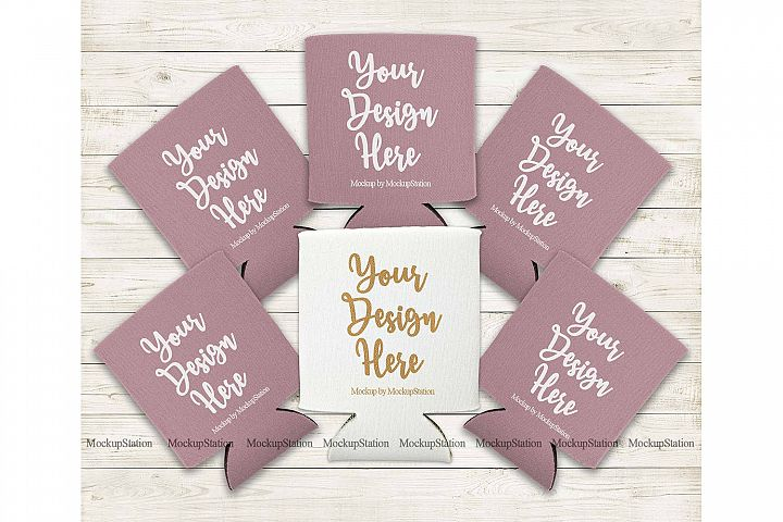 Bride Dusty Rose and White Can Coolers Mockup, Wedding Favor