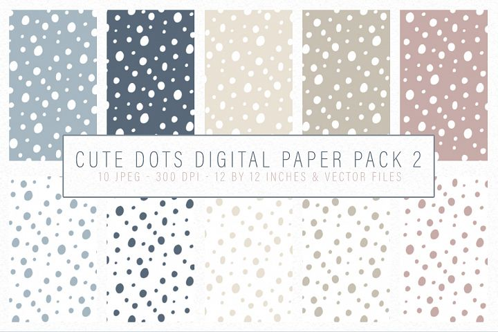Cute Dots Digital Paper Pack 2 - Seamlessly tiling patterns
