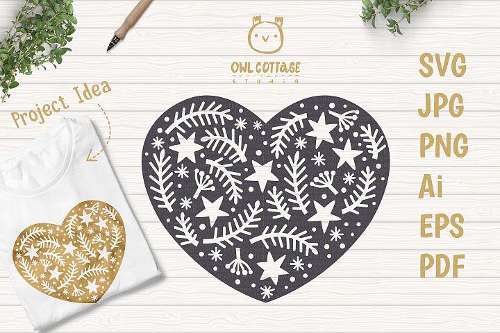 Scandinavian Style X-mas Heart SVG, Christmas Decor Cut File