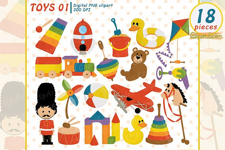 Cute kids toys clipart, wooden toys - INSTANT download