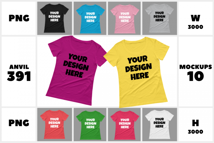 Anvil 391 - Ladies Sheer Scoopneck T-Shirt Mockups - 10