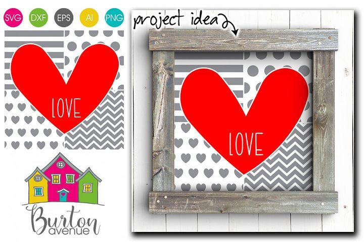 Heart on Patchwork Background Valentine SVG File