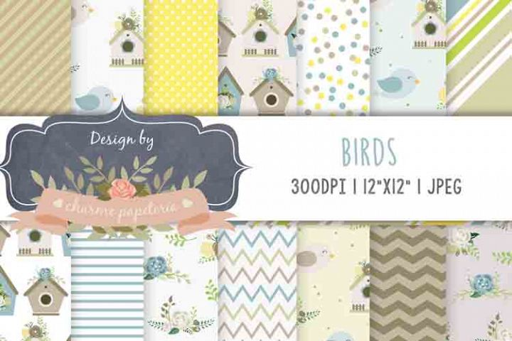 Little birds Digital Paper, Baby Boy Digital Paper